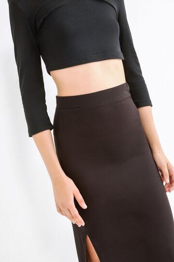 Long skirt with splits, Black, hi-res