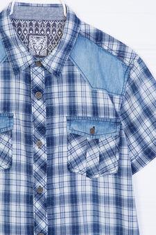 Camicia puro cotone a quadri, Blu, hi-res