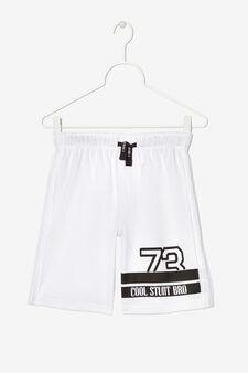 Pantaloni corti con stampa, Bianco, hi-res