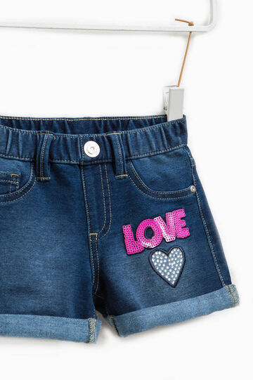 Shorts di jeans stretch con paillettes, Blu scuro, hi-res