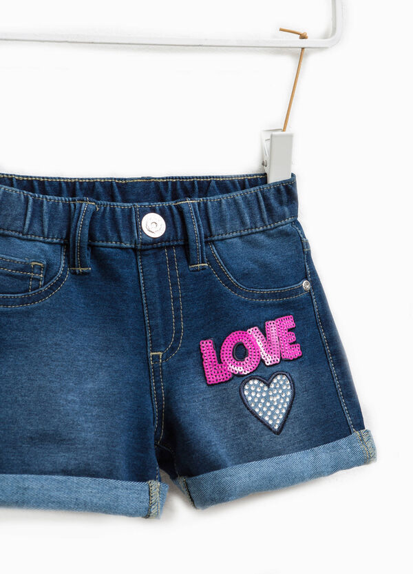 Stretch denim shorts with sequins | OVS