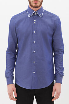 Slim-fit shirt with inserts in contrasting colour, Blue, hi-res