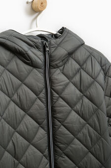 Quilted jacket with hood, Grey, hi-res