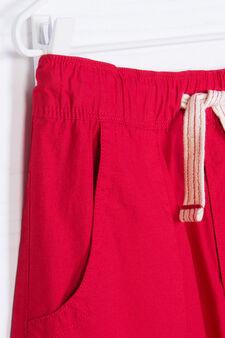 100% cotton Bermuda shorts with drawstring, Red, hi-res