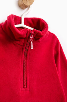 Solid colour sweatshirt with high neck, Red, hi-res