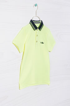 Polo shirt in 100% cotton with collar in contrasting colour, Neon Yellow, hi-res