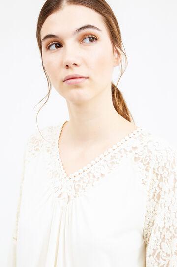 T-shirt a pieghe con pizzo, Bianco latte, hi-res