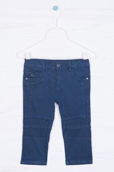 Pantaloni stretch tinta unita, Blu, hi-res