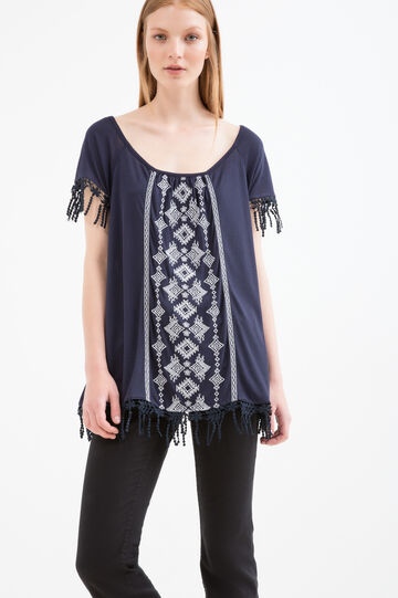 T-shirt in 100% viscose with fringe, White/Blue, hi-res