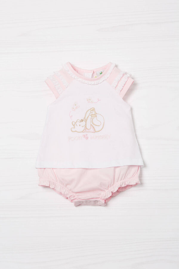 Biocotton romper suit with embroidery | OVS