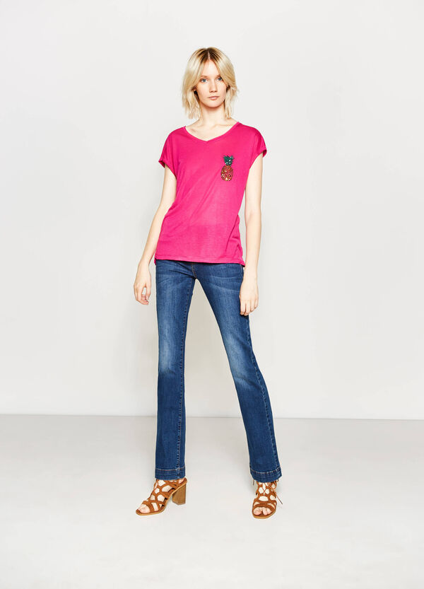 Viscose T-shirt with fruit sequins | OVS
