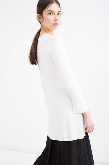 Long blouse in stretch viscose, Milky White, hi-res