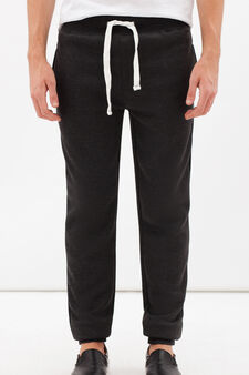 Cotton blend joggers with drawstring, Dark Grey, hi-res