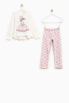 100% cotton printed pyjamas, White/Pink, hi-res