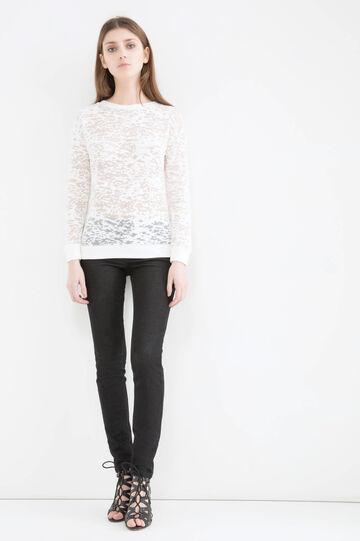 Semi-sheer sweatshirt in cotton, Milky White, hi-res