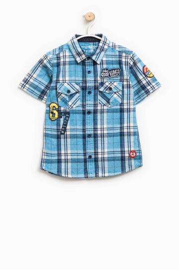 Shirt with all-over tartan print, Light Blue, hi-res