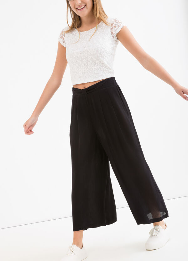 Teen viscose palazzo trousers | OVS