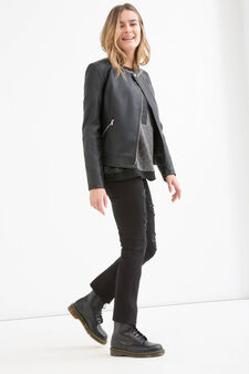 Teen solid colour leather look jacket., Black, hi-res
