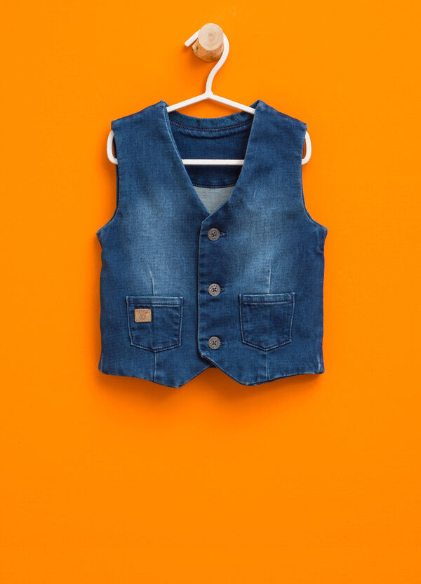 Washed-effect denim gilet with pockets | OVS