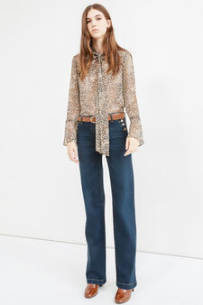 Worn-effect stretch flared jeans, Dark Blue, hi-res