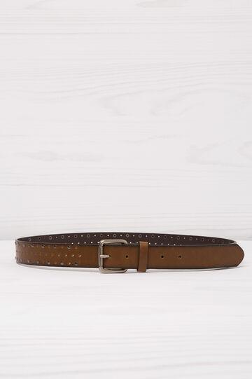 Cintura similpelle traforata borchie, Marrone, hi-res