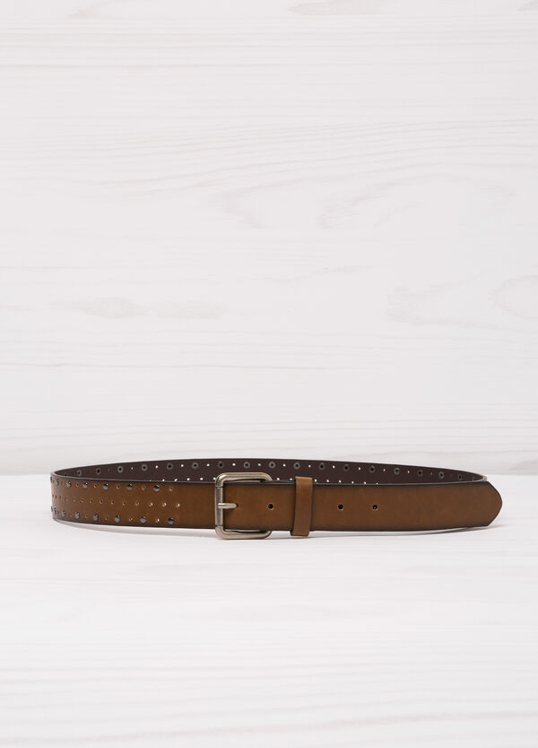 Leather look belt with openwork and studs | OVS