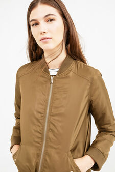 Solid colour bomber jacket with zip, Brown, hi-res