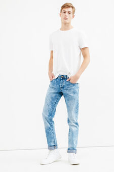 Misdyed effect slim-fit stretch jeans, Light Wash, hi-res
