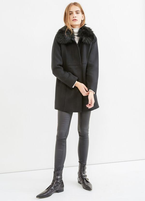 Coat with fur collar | OVS