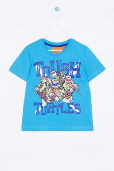 Teenage Mutant Ninja Turtle print T-shirt in 100% cotton., Turquoise Blue, hi-res
