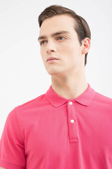 Solid colour polo shirt, Light Red, hi-res