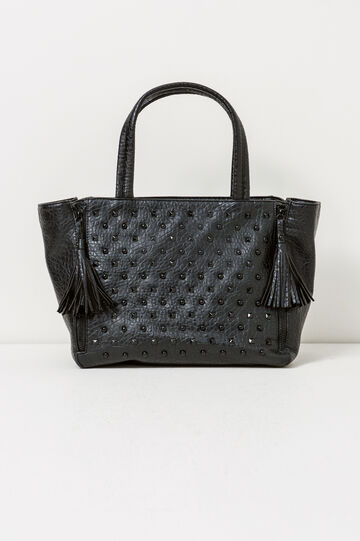 Shoulder bag with studs and tassels, Black, hi-res