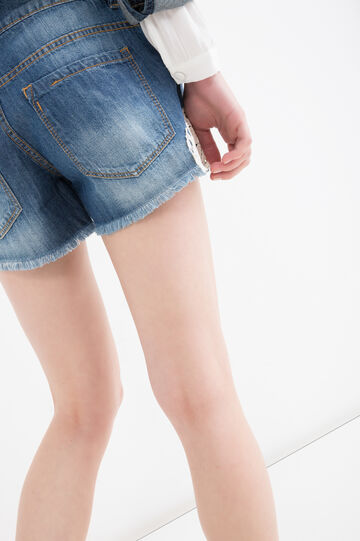 Embroidered regular fit denim shorts, Blue, hi-res