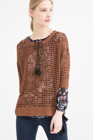 Viscose blend openwork pullover, Cognac Brown, hi-res