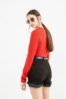 Solid colour V-neck pullover., Red, hi-res