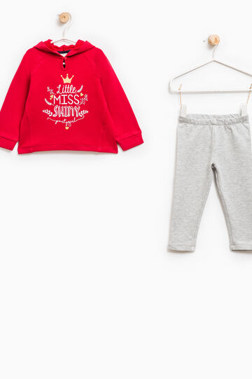 Cotton tracksuit with hoodie, Grey/Red, hi-res