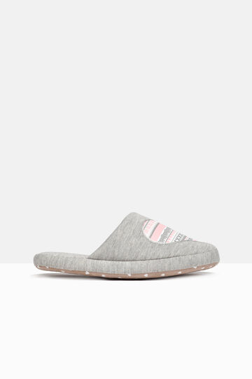 Printed slippers, Grey/Pink, hi-res