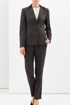 Stretch tartan blazer, Grey/Red, hi-res