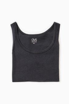 Solid colour cotton vest, Black, hi-res