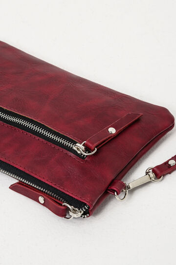 Solid colour clutch with zip, Red, hi-res