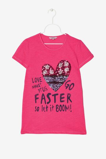 T-shirt con stampa e paillettes, Rosa fuxia, hi-res