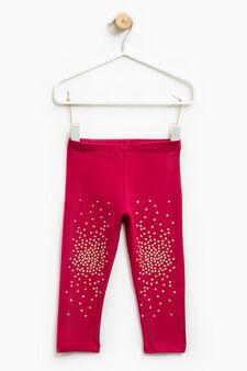 Rhinestone stretch leggings, Cherry Red, hi-res