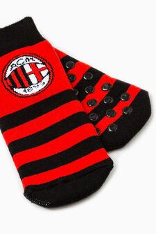 Football team slipper socks, Black/Red, hi-res