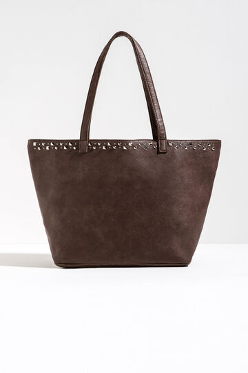 Shoulder bag with studs, Taupe Grey, hi-res