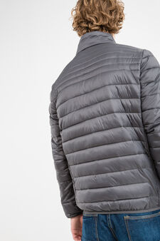Quilted down jacket with high neck, Dark Grey, hi-res