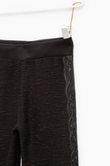 Trousers with embossed weave and lace, Black, hi-res