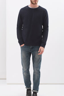 100% cotton sweatshirt with raglan sleeves, Dark Blue, hi-res