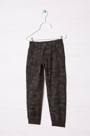 100% cotton trousers with camouflage pattern, Grey, hi-res