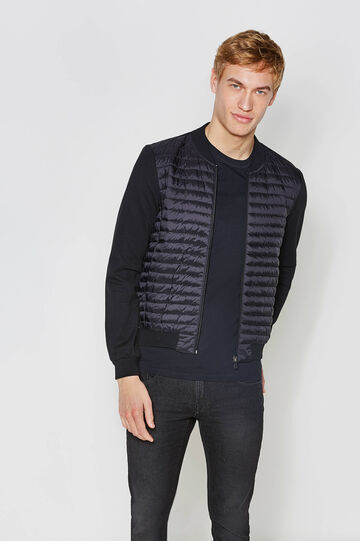 Jacket with round ribbed neck, Black, hi-res