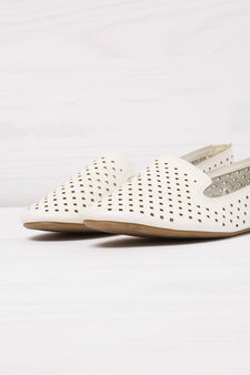 Solid colour slip-ons with openwork design, White, hi-res